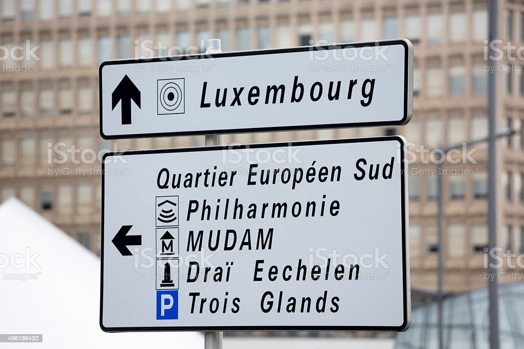 Luxembourg City, Europe Traffic Signs stock photo
