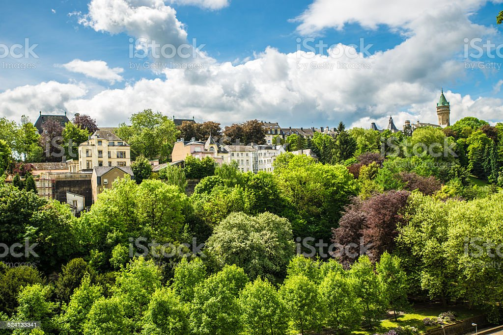 Luxembourg city in the forests stock photo