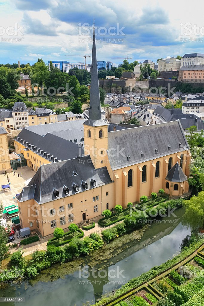 Luxembourg City Lower Town Grund Quarter stock photo