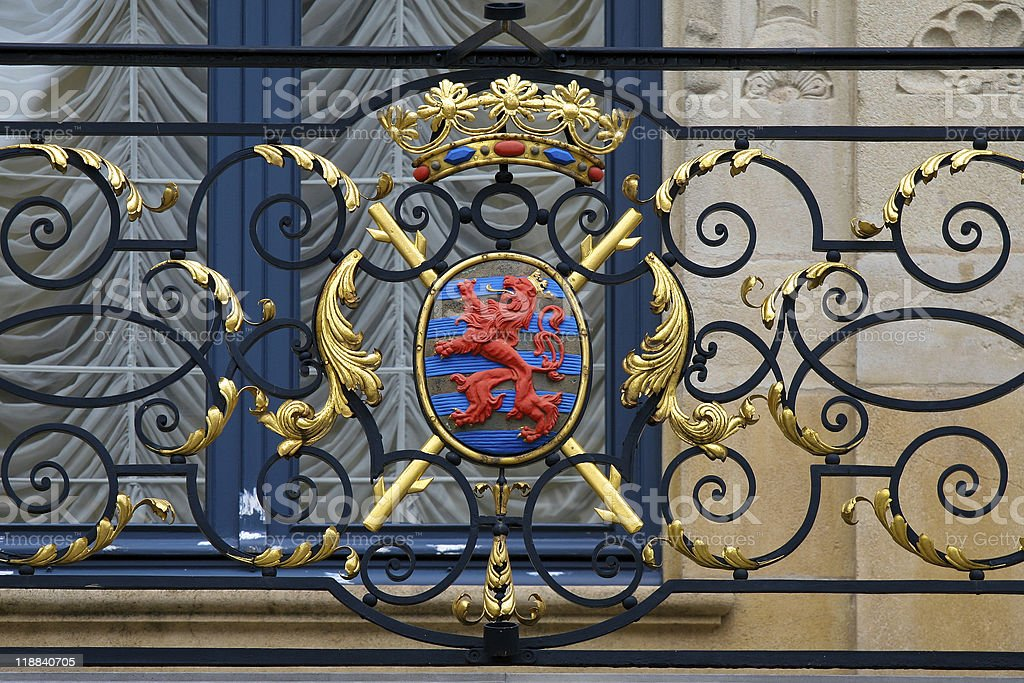 Luxembourg coat of arms in balcony fence stock photo