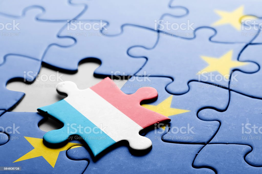 Luxembourg. Exit from European Union concept puzzle stock photo