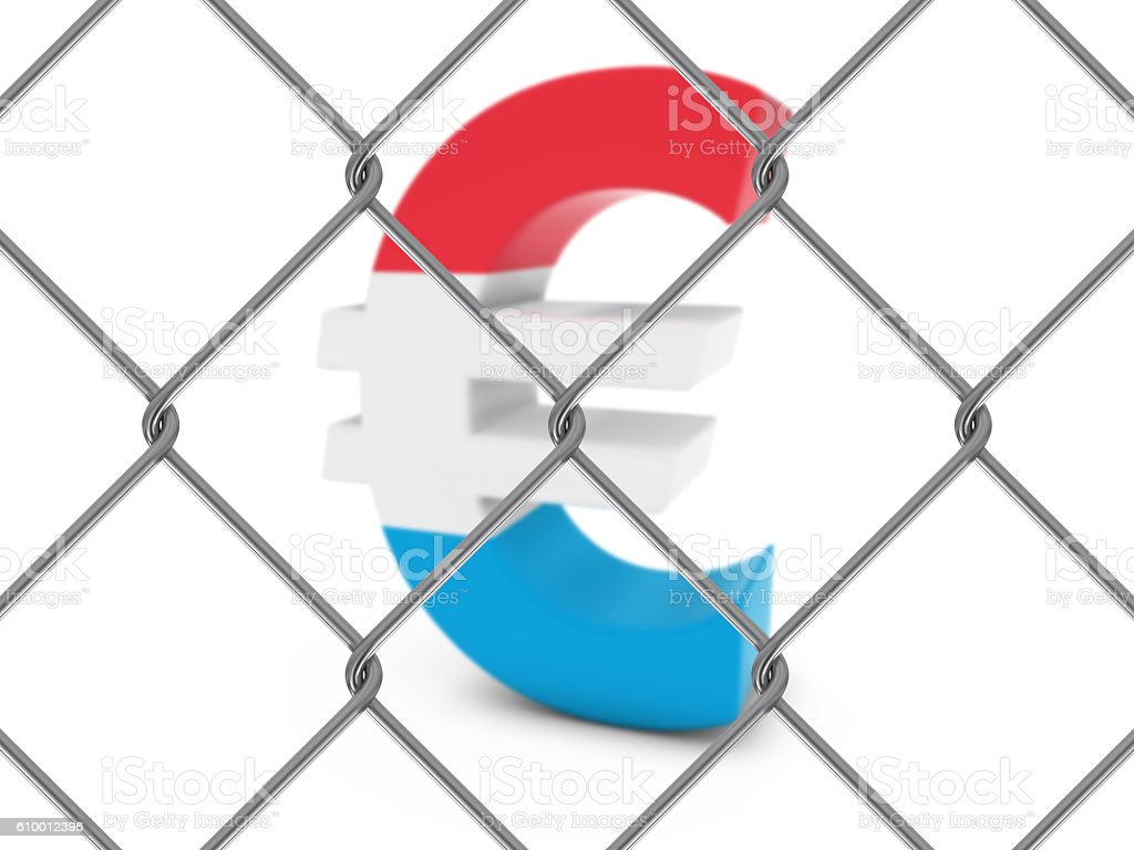 Luxembourg Flag Euro Symbol Behind Chain Link Fence stock photo
