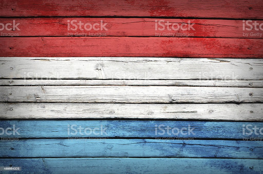Luxembourg flag painted on wooden boards royalty-free stock photo