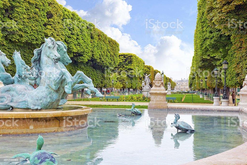 Luxembourg Garden in Paris,Fontaine de Observatoir.Paris royalty-free stock photo