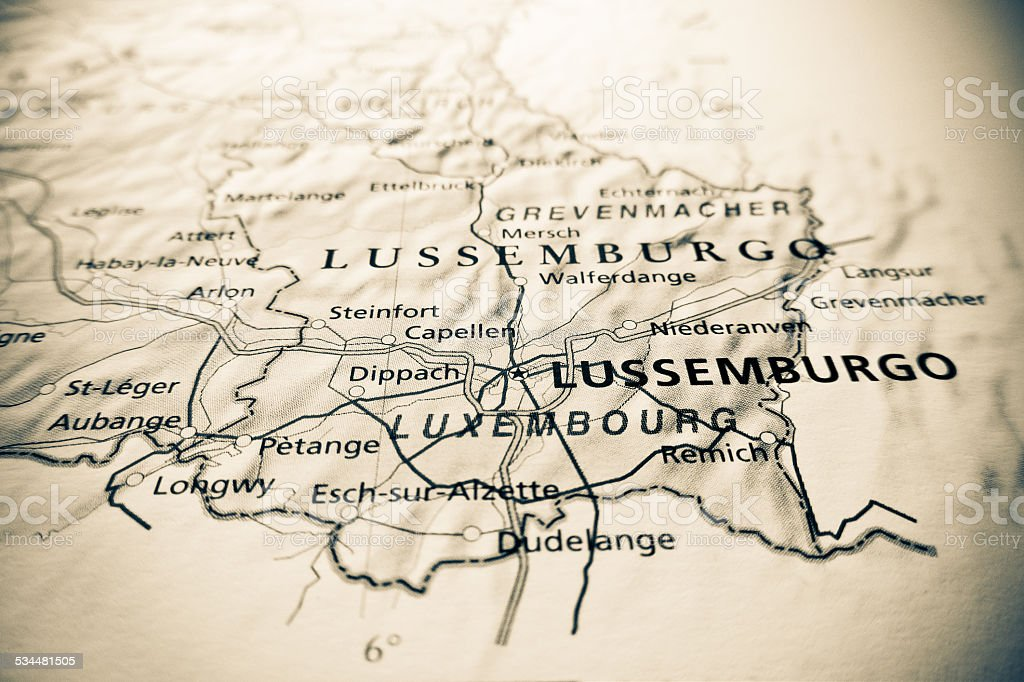 Luxembourg map stock photo