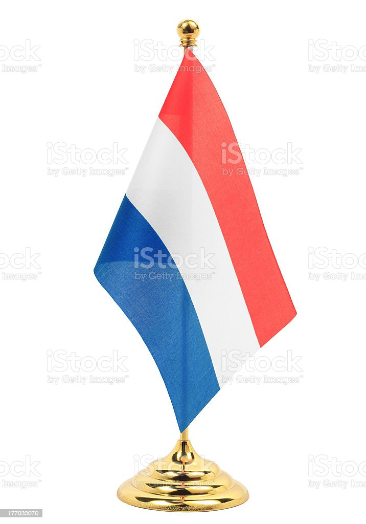 Luxembourg National flag hanging on the gold flagstaff stock photo