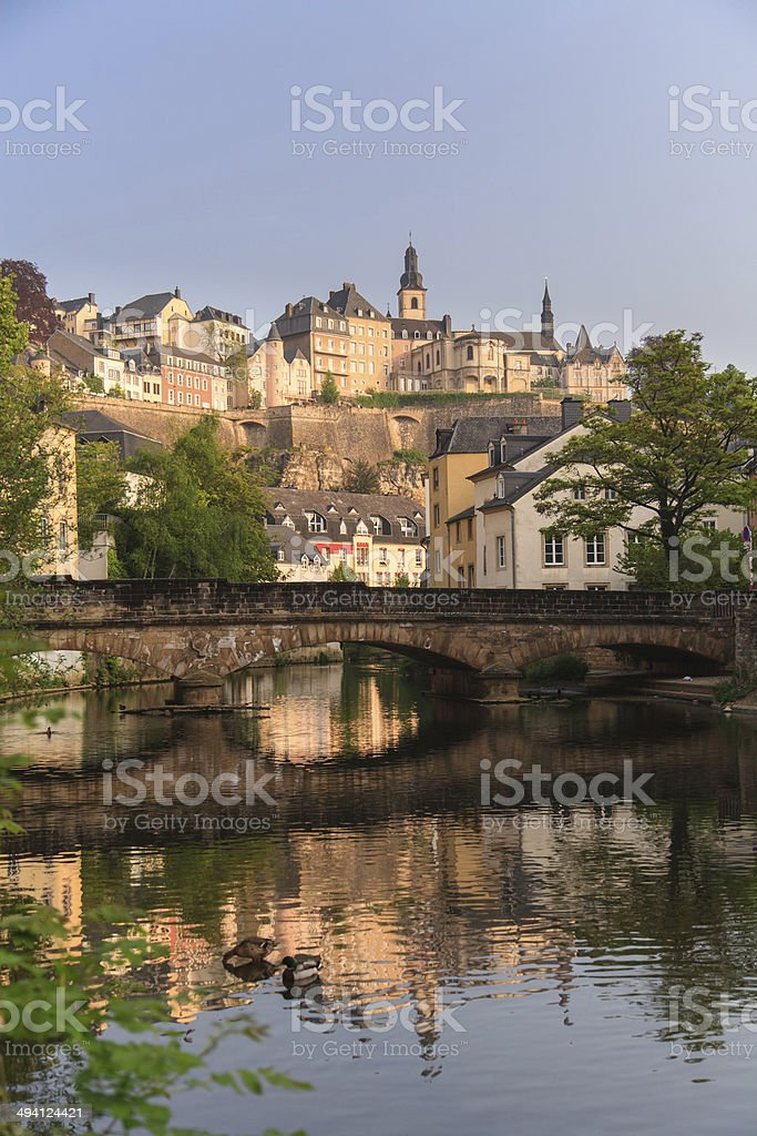 Luxembourg old city and Alzette river in the morning stock photo