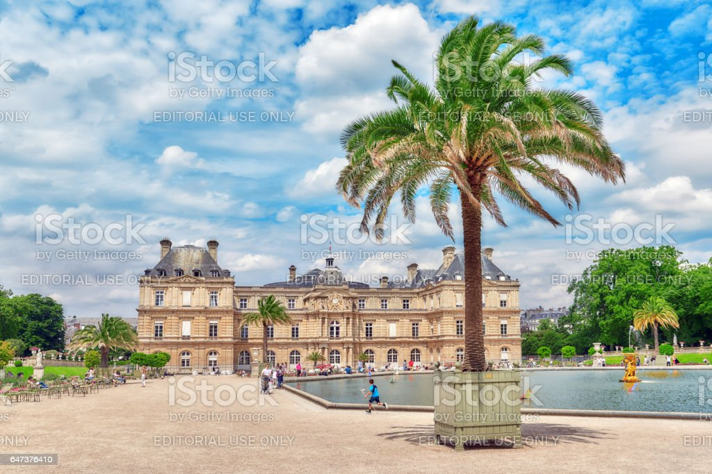 Luxembourg Palace and park in Paris, the Jardin du Luxembourg. stock photo
