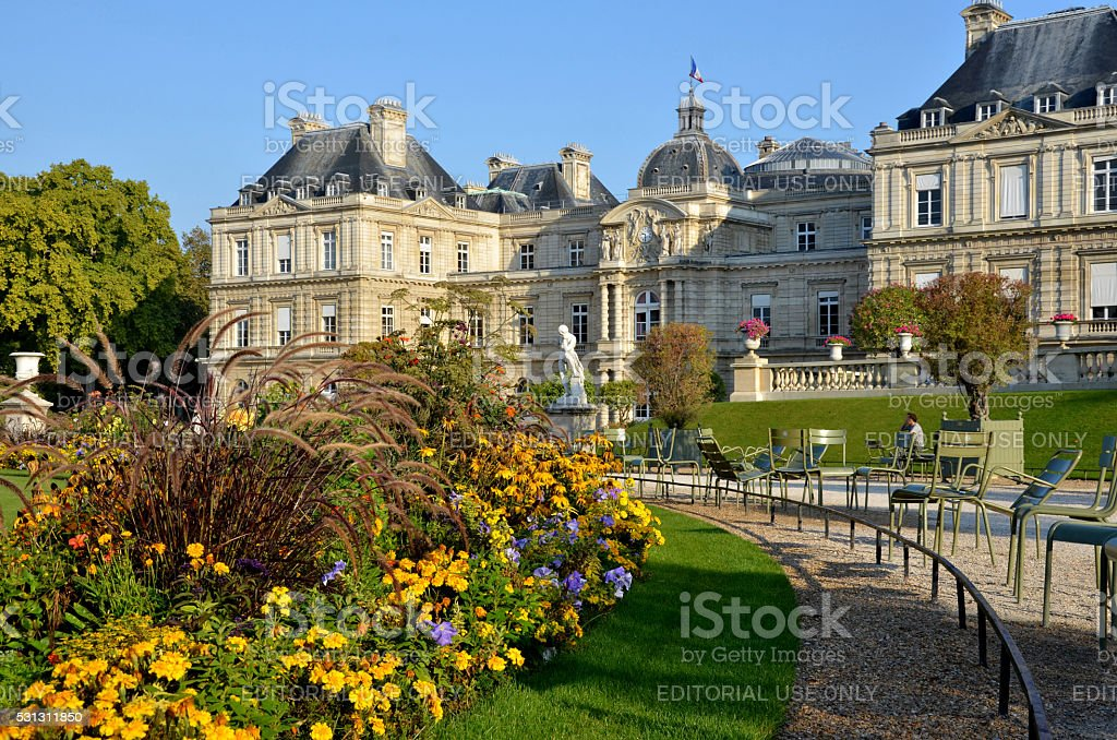 Luxembourg Palace in Paris, photo made from Luxembourg Garden stock photo