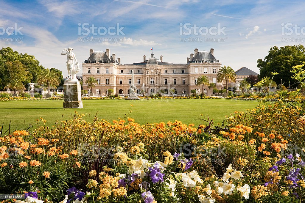 Luxembourg Palace with flowers stock photo
