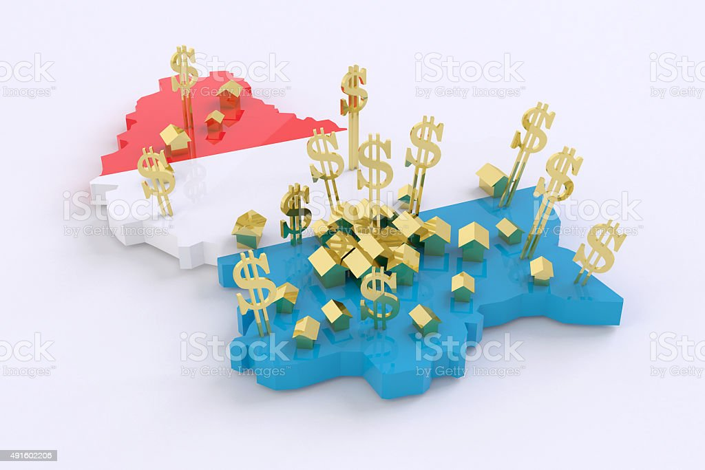Luxembourg real estate richest country. Luxembourg flag stock photo