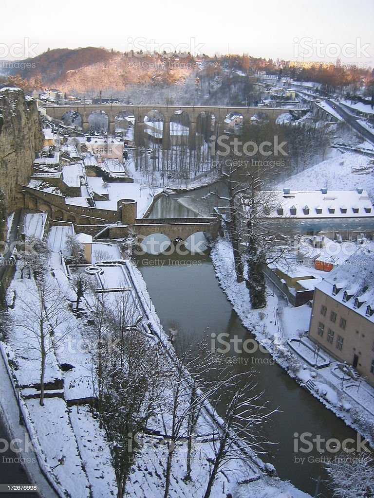 Luxembourg, the Alzette river and the Grund Valley under snow stock photo