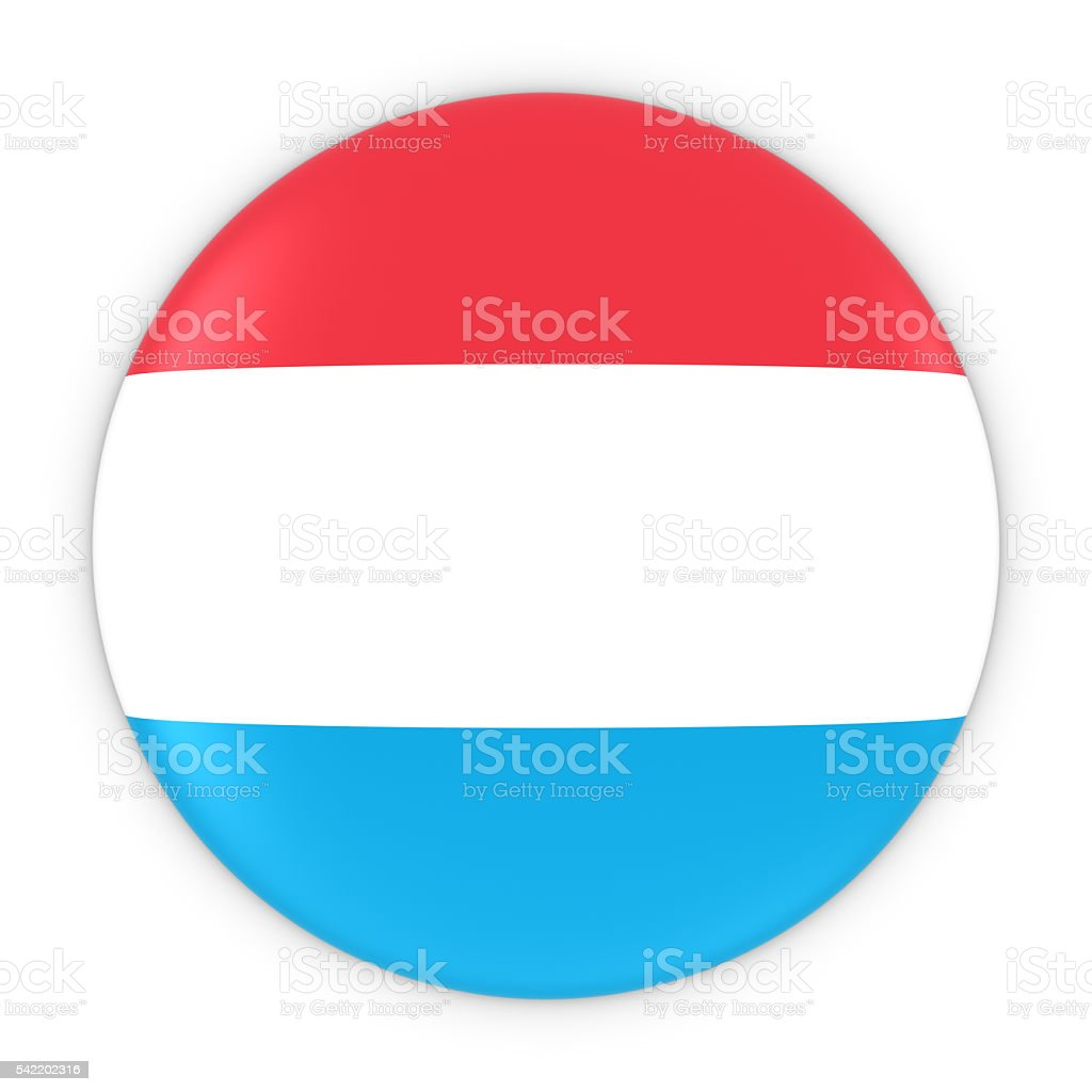 Luxembourgish Flag Button - Flag of Luxembourg Badge 3D Illustration stock photo