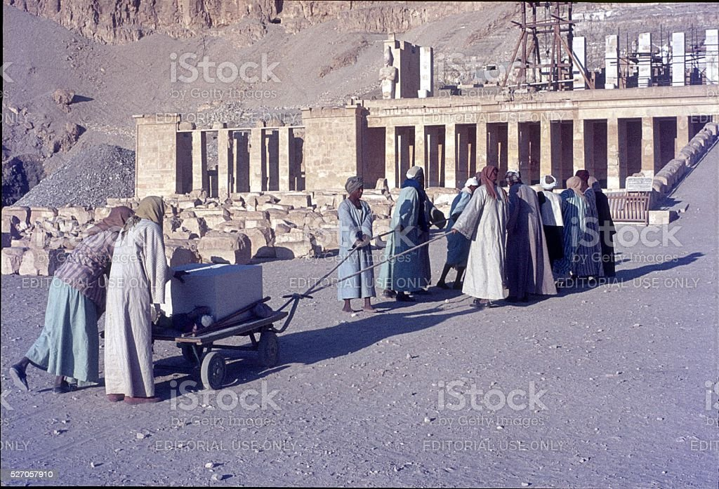 Luxor, Egyptian workers stock photo