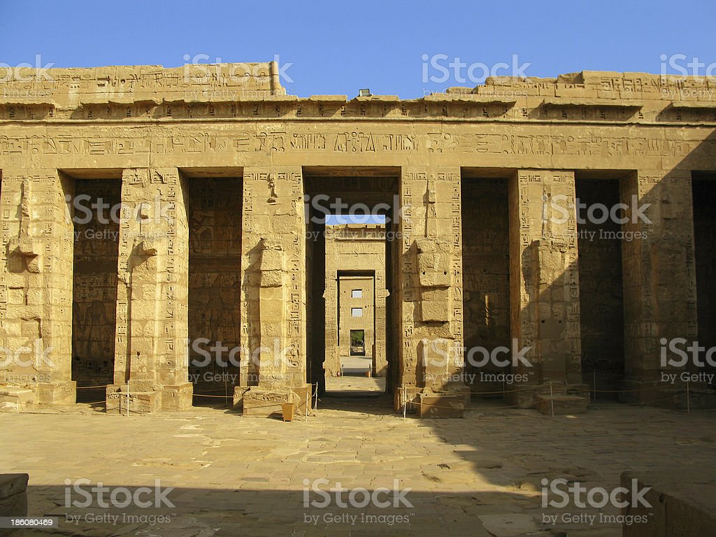 Luxor: Inside temple of Medinet Habu, dedicated to Rameses III stock photo