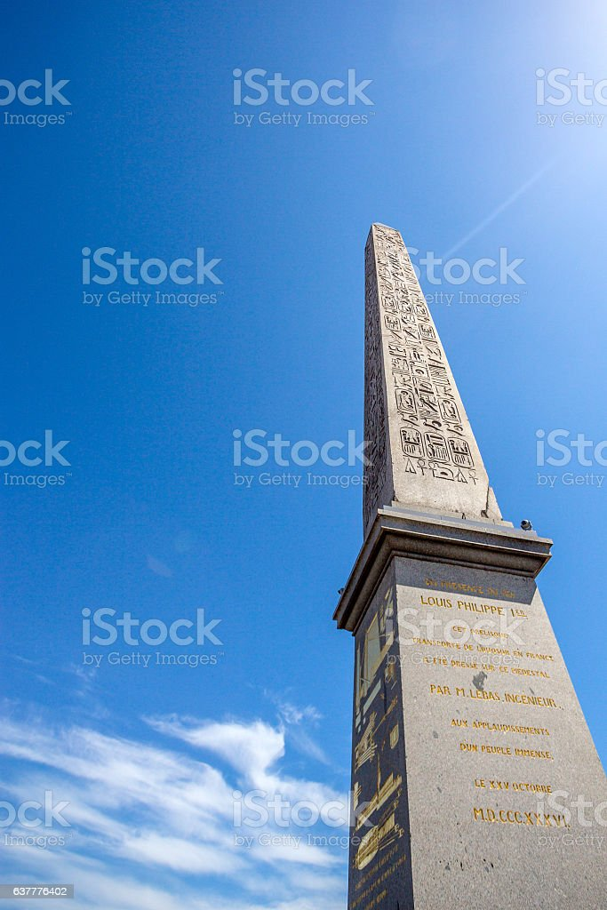 Luxor obelisk at Place de la Concorde in Paris stock photo