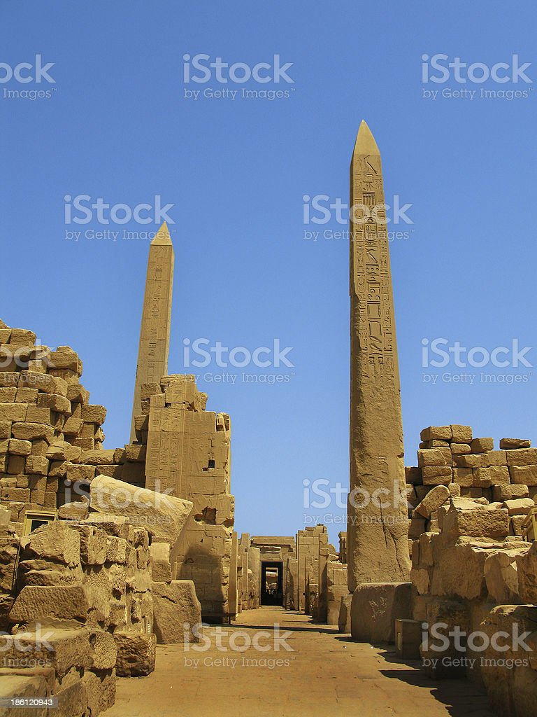 Luxor: Obelisks at the Temple of Karnak (ancient Thebes) royalty-free stock photo