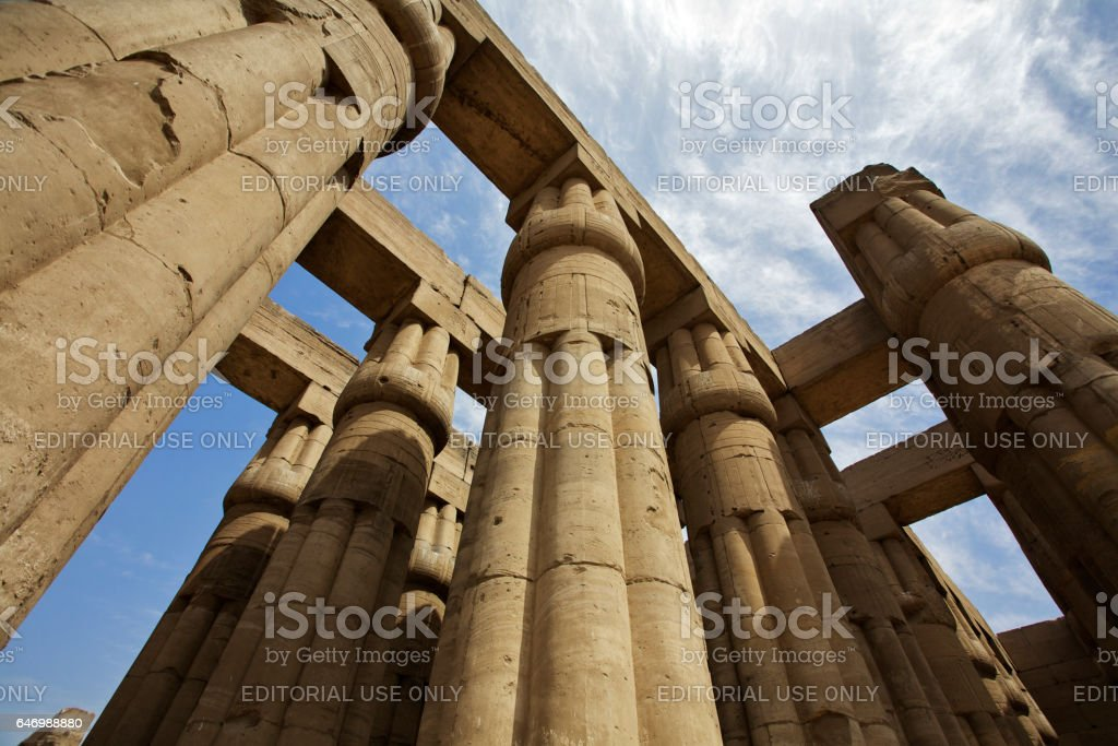 Luxor, Pillars of the Temple of Amun, part of the temple complex at Karnak, Upper Egypt. stock photo