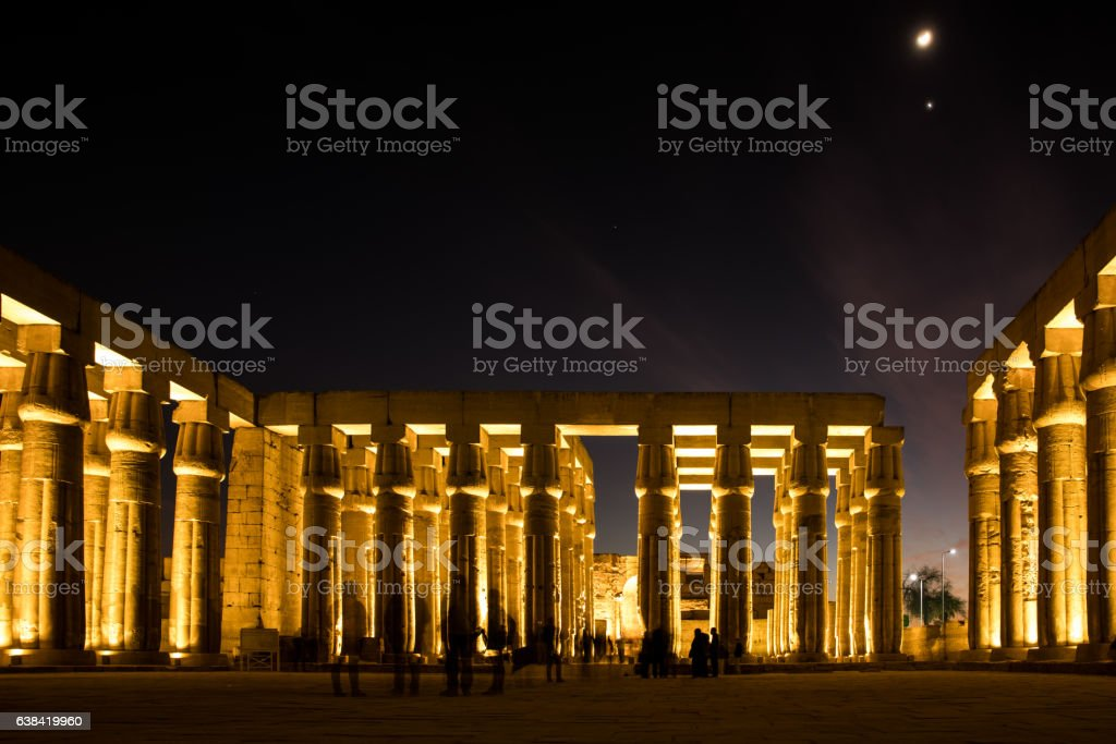 Luxor Temple At night stock photo