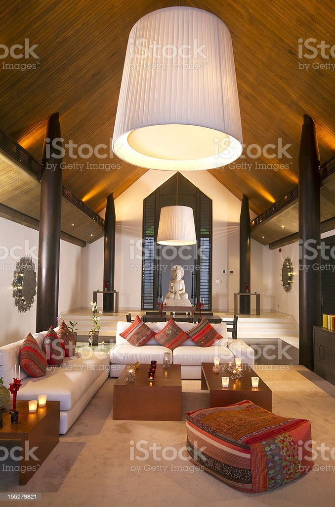 Luxurious Asian dining room in a tropical villa stock photo
