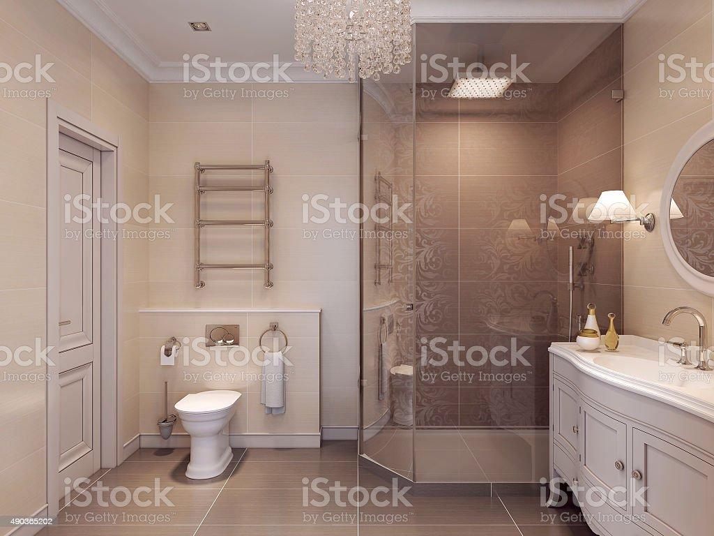 Luxurious bathroom in the art deco style. stock photo