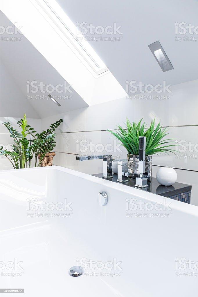 Luxurious bathroom in the attic stock photo