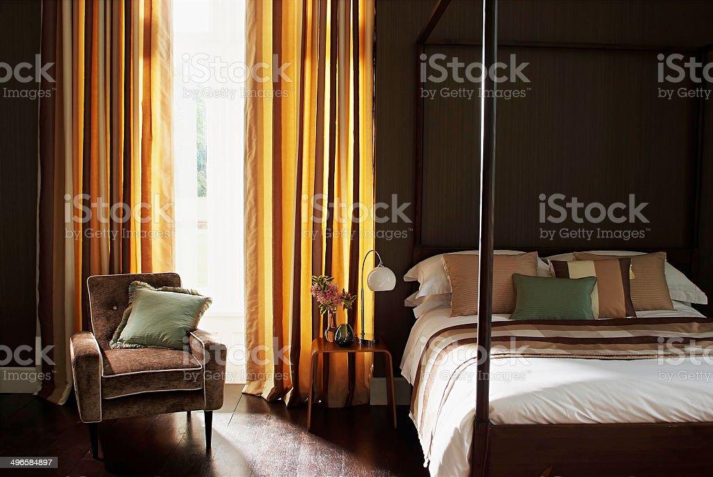 Luxurious bedroom interior stock photo