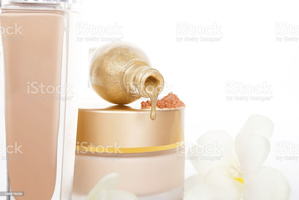Luxurious beige makeup and cosmetics background. royalty-free stock photo