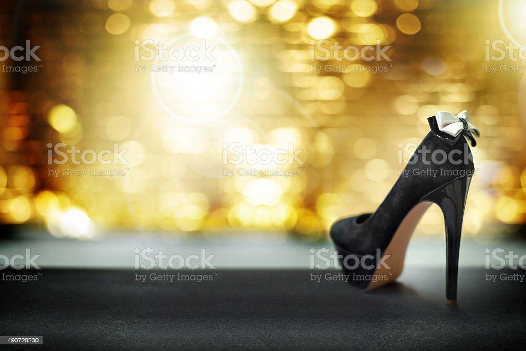 Luxurious black high heels stock photo