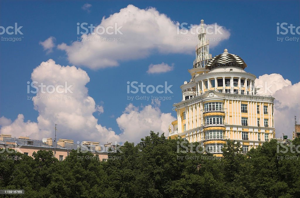 Luxurious building in the center of Moscow stock photo