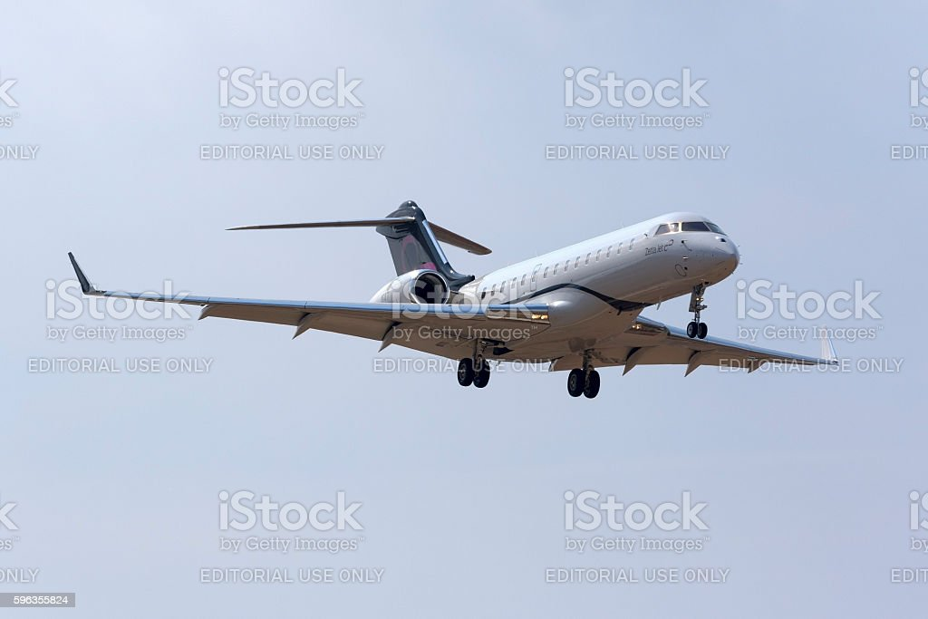 Luxurious business jet landing. stock photo