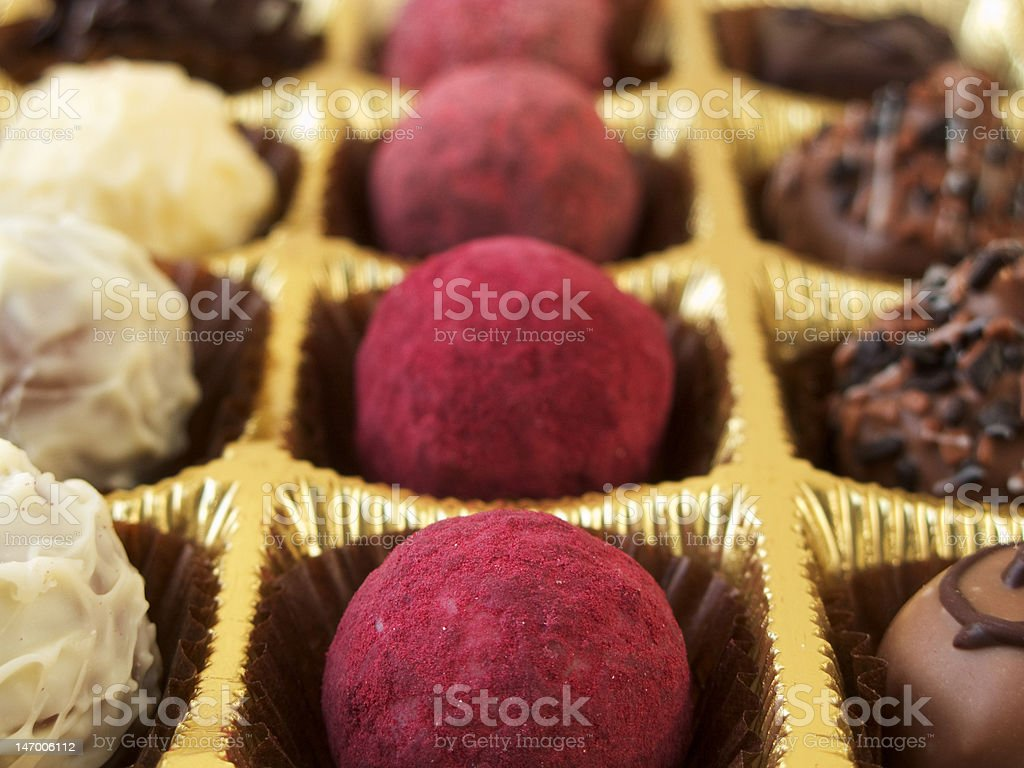 luxurious chocolate truffles and praline stock photo