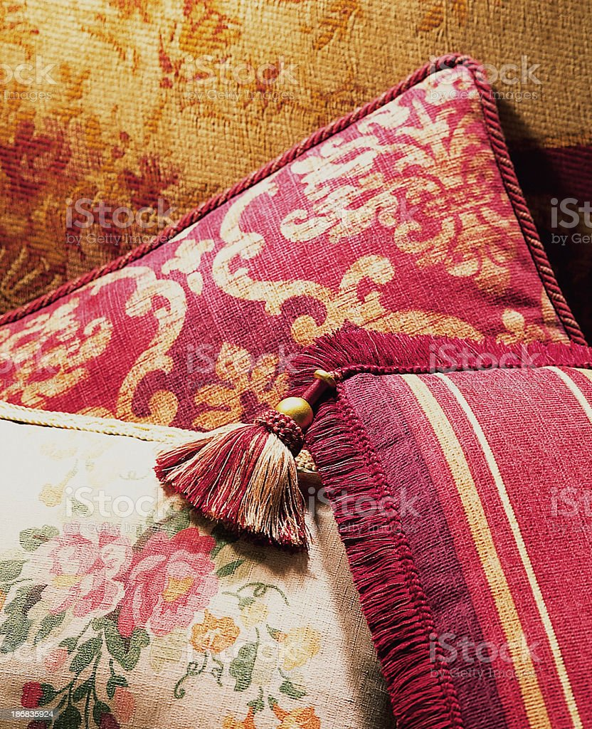 Luxurious cushions pilled in bright room. stock photo