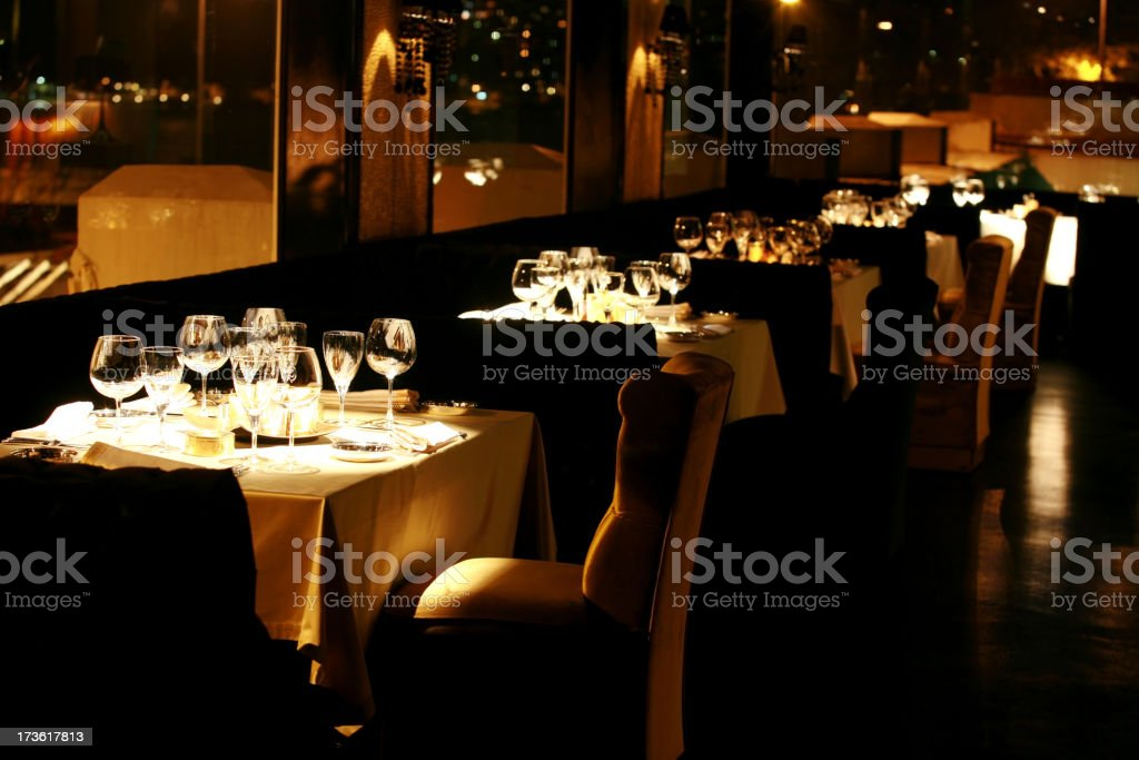 luxurious dinner table and restaurant stock photo