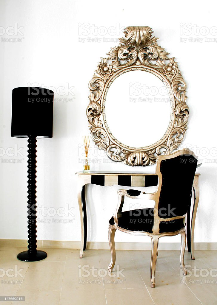 luxurious dressing table on white wall stock photo