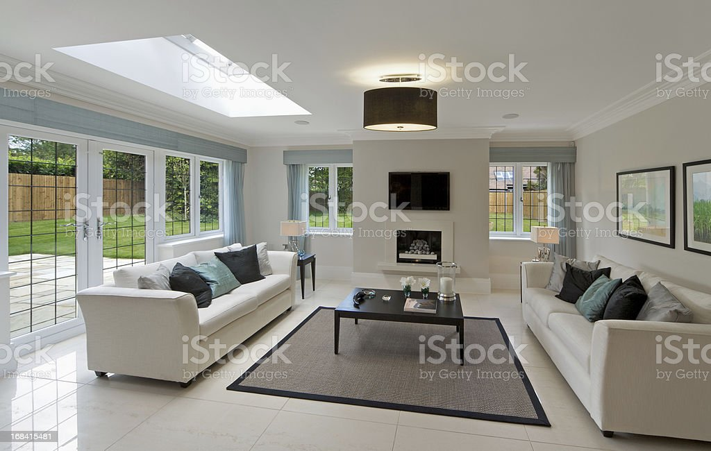 luxurious garden lounge stock photo