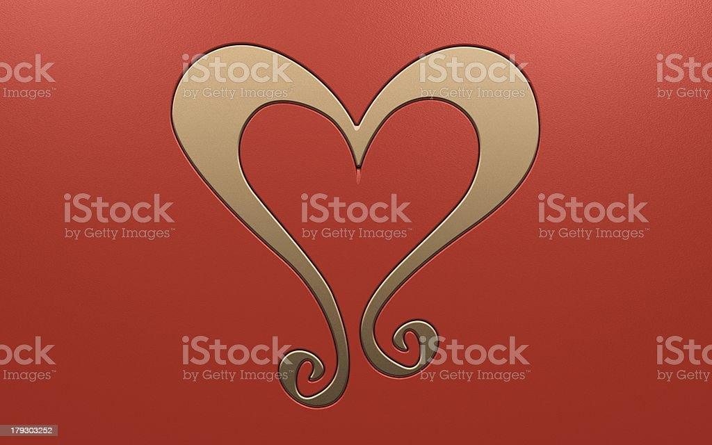 Luxurious gold heart decoration stock photo