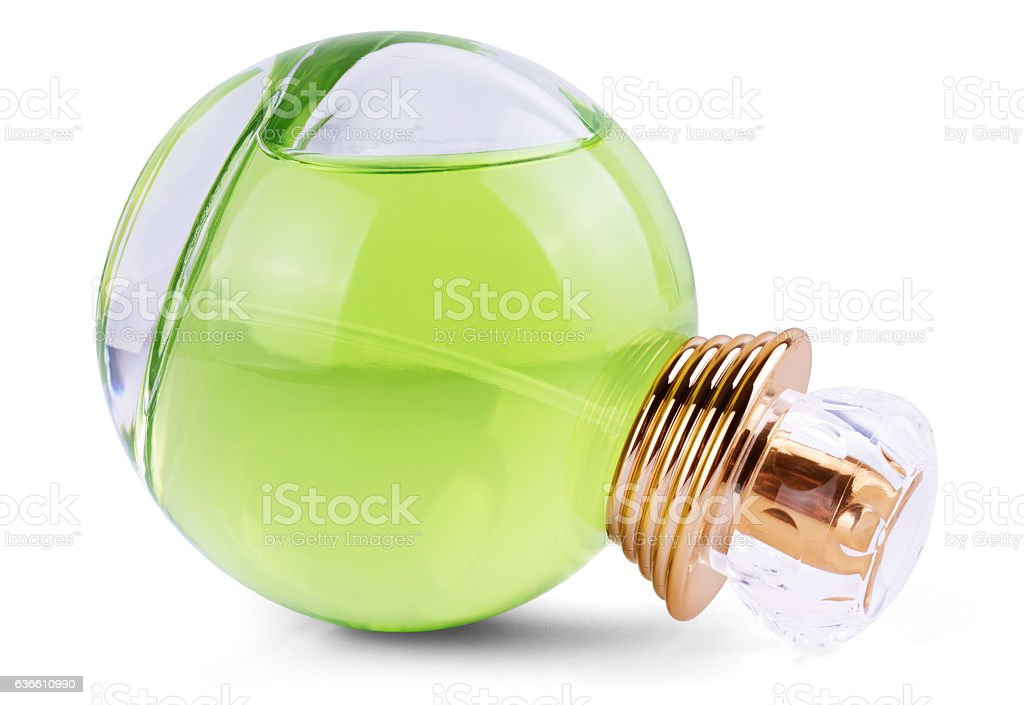 Luxurious green tea perfume. Feminine beauty concept stock photo
