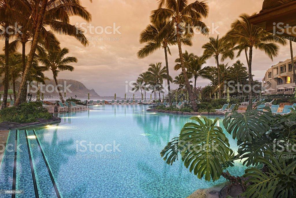 Luxurious Hawaiian 5 star resort. stock photo