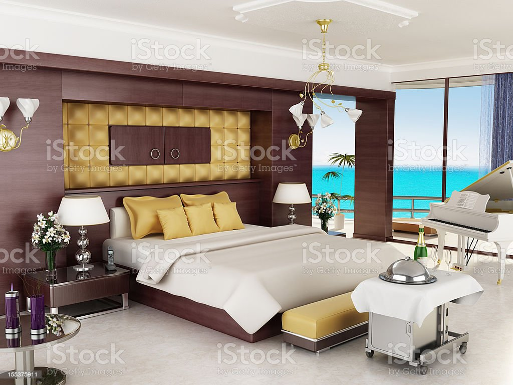 Luxurious hotel room and/or honeymoon suite stock photo