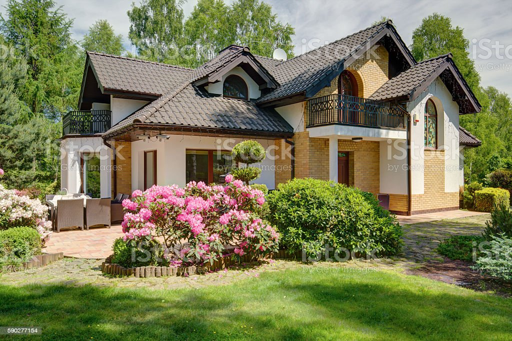Luxurious house in the suburbs stock photo