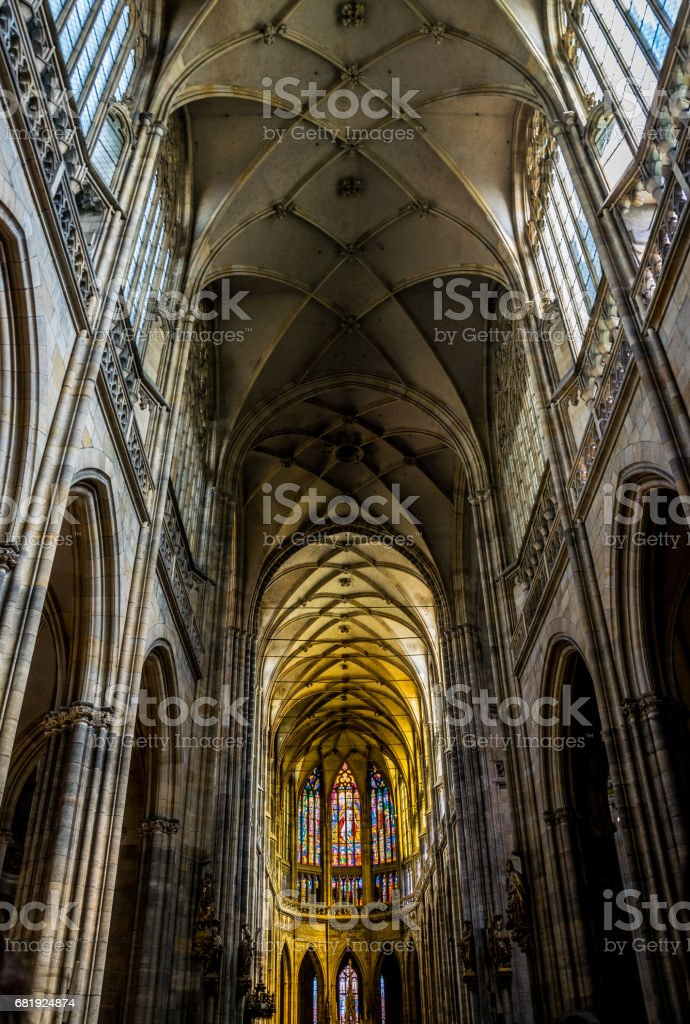 luxurious interior of the Gothic Cathedral in Prague. St. Vitus Cathedral stock photo