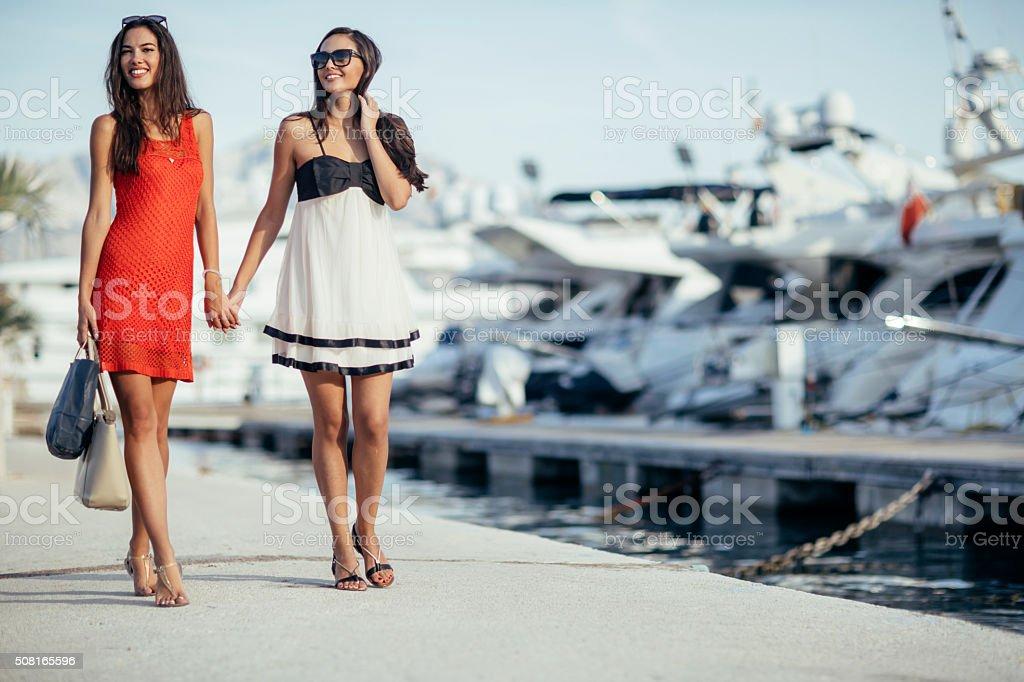 Luxurious life for two women stock photo