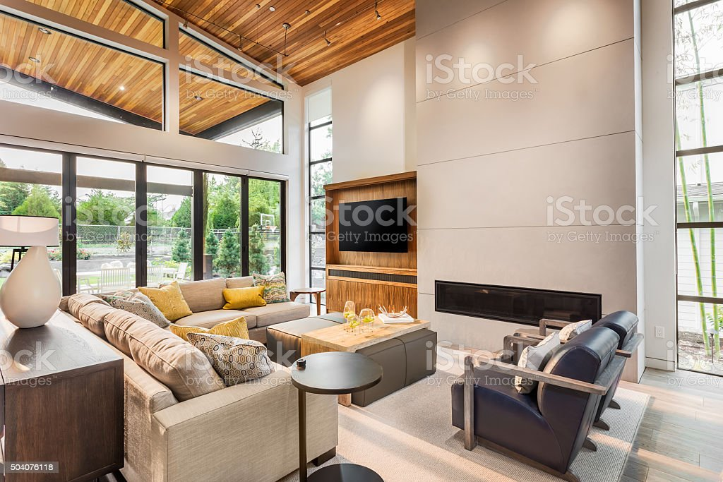 Luxurious Living Room in new home stock photo