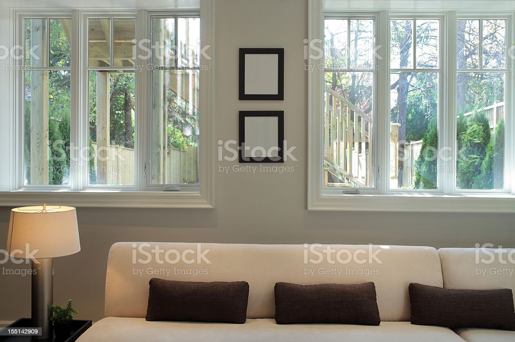 Luxurious living room of a new North American home royalty-free stock photo