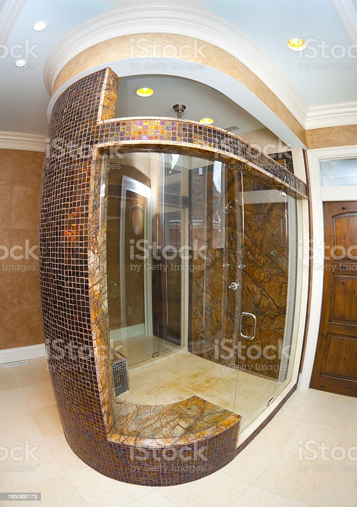 luxurious marble glass and tile open concept shower stall royaltyfree stock photo