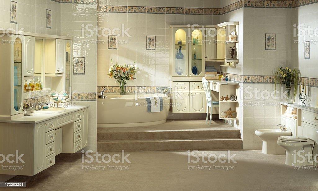 Luxurious master bathroom interior stock photo