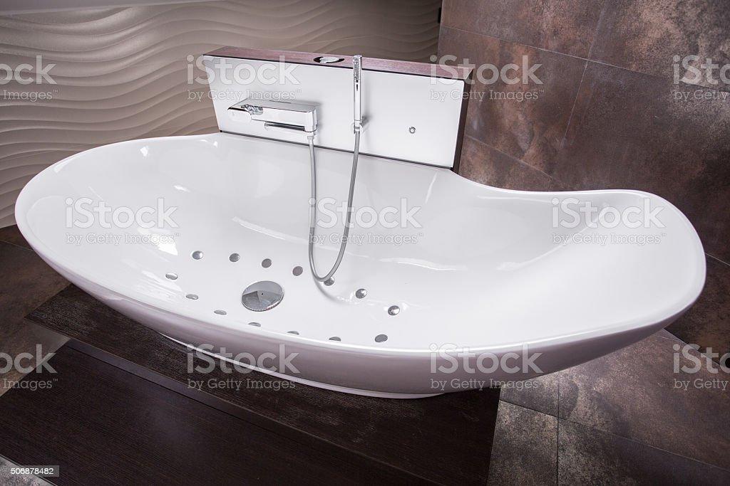Luxurious modern bathtub stock photo