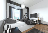 Luxurious, modern bedroom in contemporary style in black and whi