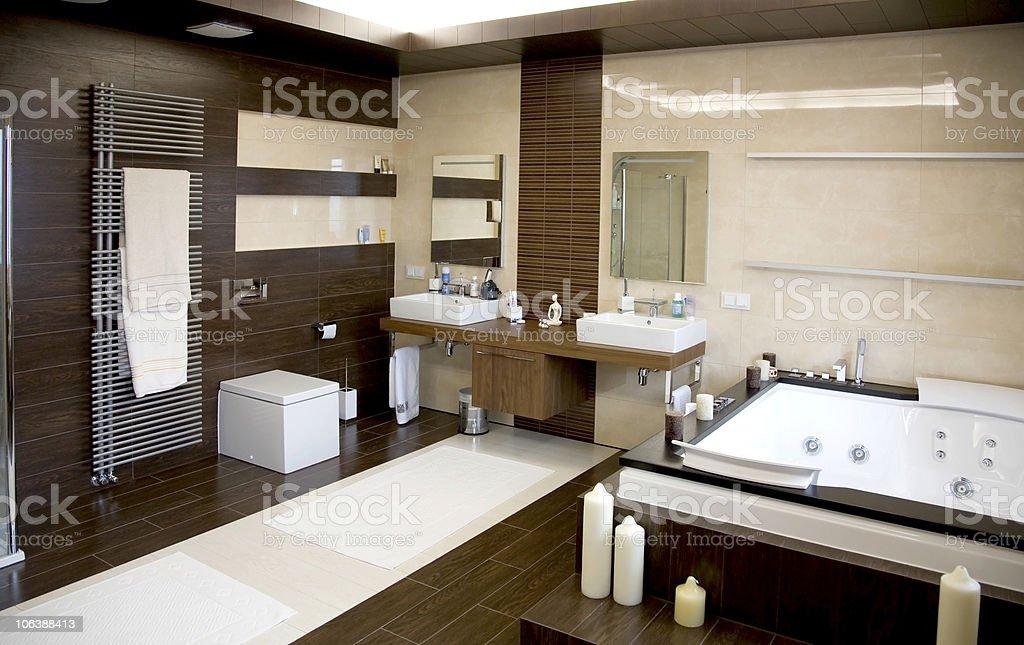 luxurious modern white bathroom with dark wood floors royalty-free stock photo